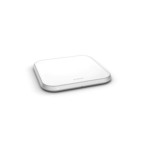 ZENS Single Alu. Laddare QI Trådlös 220V-sladd 10W Vit (Apple QC 7,5W)