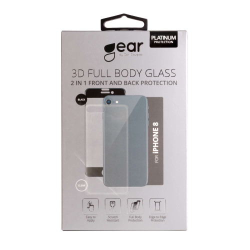 GEAR Härdat Glas 3D 2in1 Front & Back iPhone 8 Edge to Edge Svart med Klar baksida