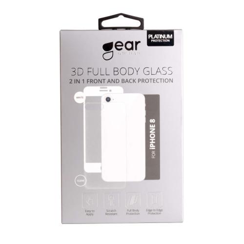GEAR Härdat Glas 3D 2in1 Front & Back iPhone 8 Edge to Edge Vit med Klar baksida