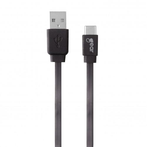 GEAR Laddare 12-24V 2xUSB 2,4A Svart USB-C 2.0 Kabel platt 1m gen2