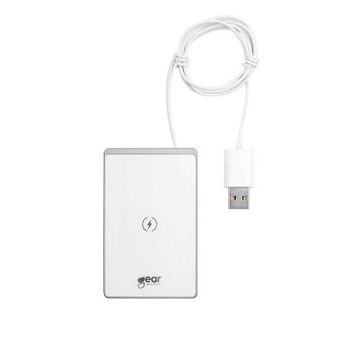 GEAR Trådlös QI Laddare USB-Sladd 15W 5-9V/2A Vit Ultratunn