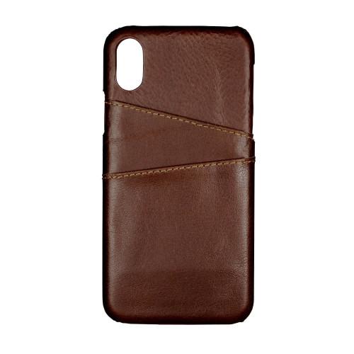 ONSALA COLLECTION Mobilskal Skinn Brun med Kortfack iPhone X/Xs