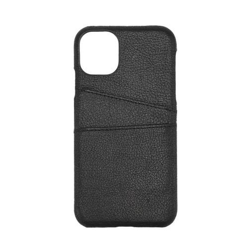 ONSALA COLLECTION Mobilskal Skinn Svart iPhone 12  / 12 Pro med Kortfack