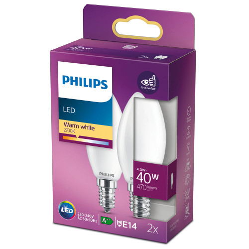 Philips 2-pack LED E14 Kron 40W Frost