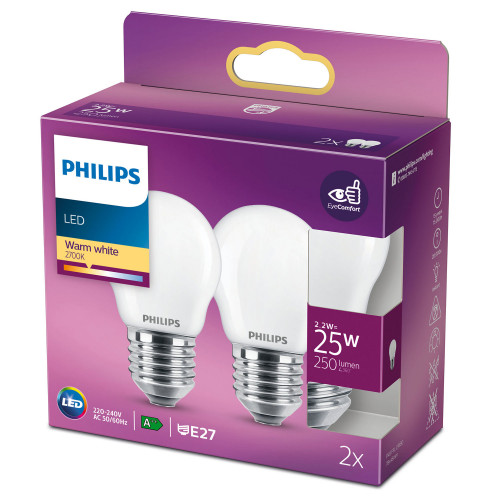 Philips 2-pack LED E27 P45 Klot 25W Fr