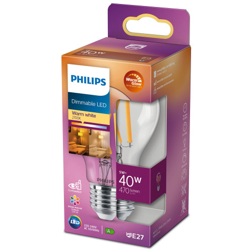 Philips LED E27 Normal 40W Klar Dimbar