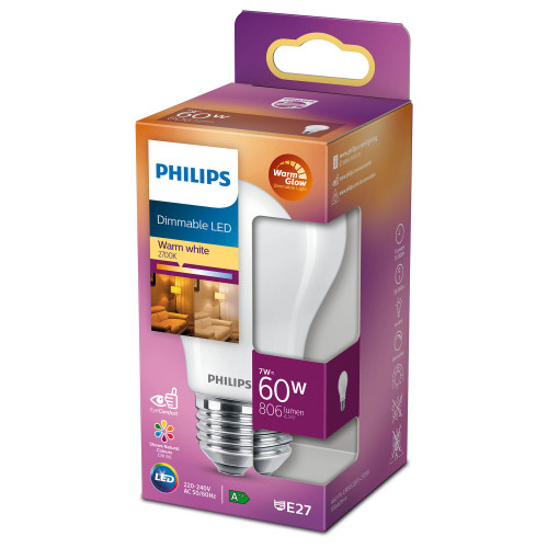 Philips LED E27 Normal 60W Frost Dimba