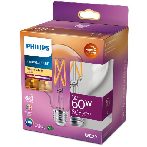 Philips LED E27 G93 Glob 60W Klar Dimb