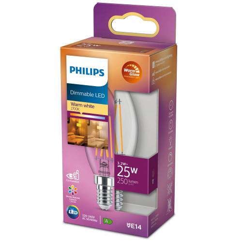 Philips LED E14 Kron 25W Klar Dimbar W