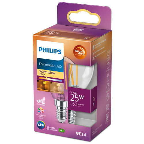 Philips LED E14 Klot 25W Klar Dimbar W