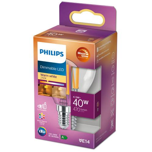 Philips LED E14 Klot 40W Klar Dimbar W