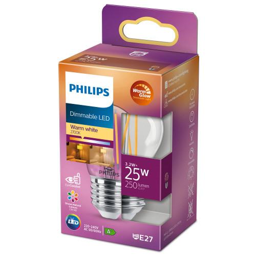 Philips LED E27 Klot 25W Klar Dimbar W