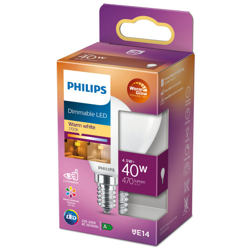 Philips LED E14 Klot 40W Frost Dimbar