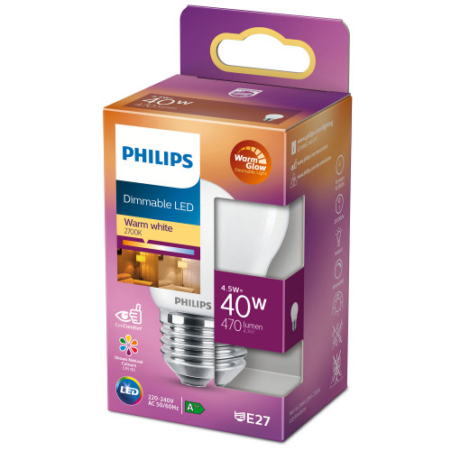 Philips LED E27 Klot P45 40W Frost Dim