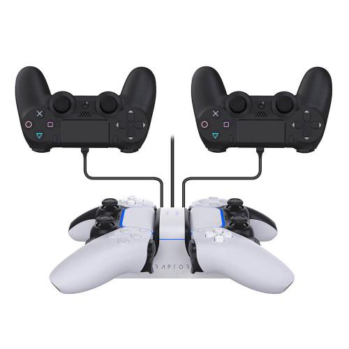 RAPTOR Laddare för Handkontroll Dual PS4/PS5