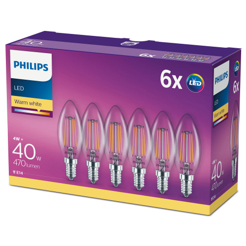 Philips 6-pack LED E14 Kron 40W Klar 4