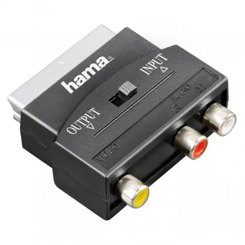 HAMA Adapter 3xRCA-Scart Hona-Hane I/O Svart
