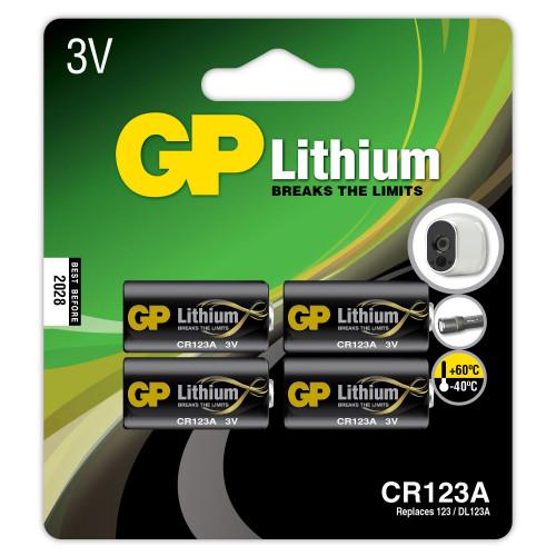 GP CR123A Lithiumbatteri 4-pack