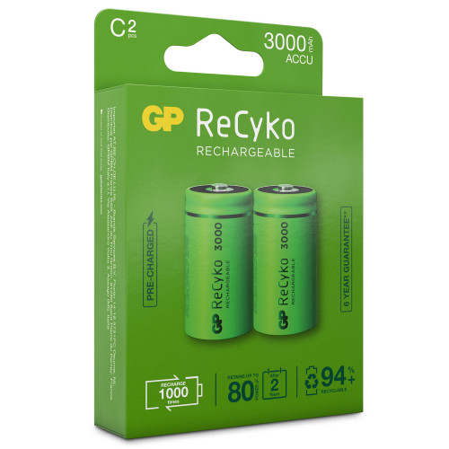 GP ReCyko Laddningsbara C-batteri