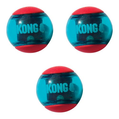 KONG Hundleksak Squeezz Action Red Medium 3-p Kong 6,2 cm