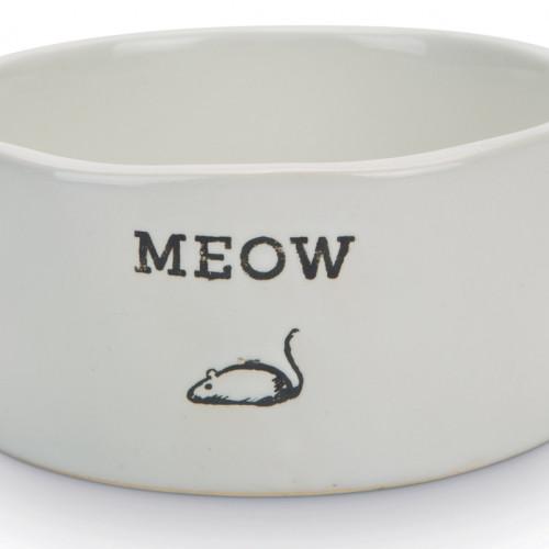 Beeztees Keramikskål Vit Meow Beeztees d=11,5cm