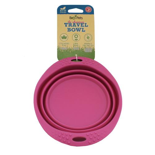 Beco Beco matskål hopfällbar Medium Rosa från växtfibrer 14 cm