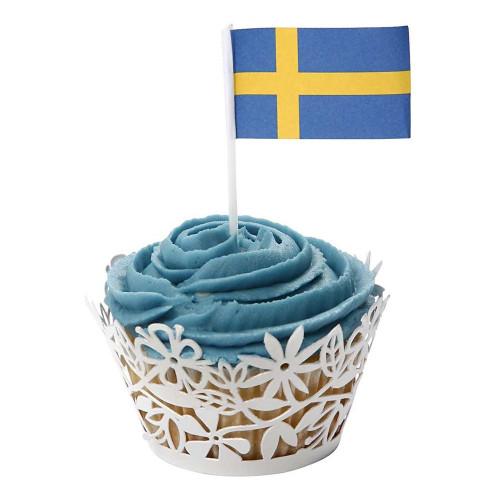 Tårtflaggor Sverige - 100-pack