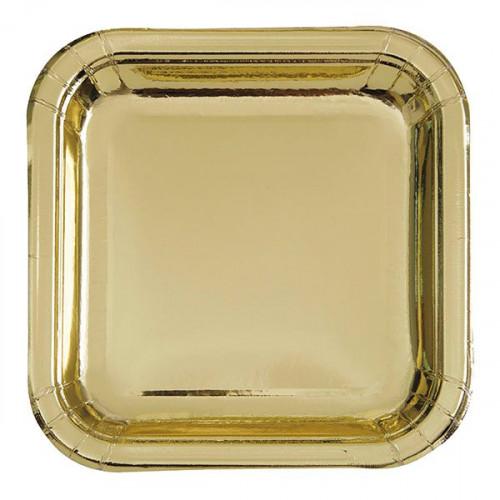 Papperstallrikar Kvadrat Guld Metallic - 8-pack