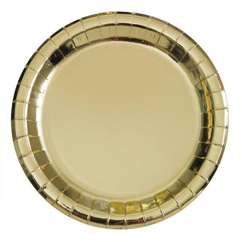 Papperstallrikar Guld Metallic - 8-pack