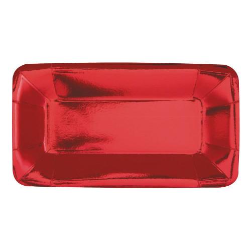 Serveringsfat Rektangel Röd Metallic - 8-pack