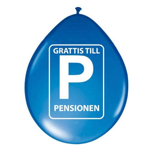 Ballonger Grattis till Pensionen - 8-pack