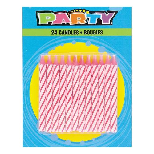 Tårtljus Rosa Randiga - 24-pack