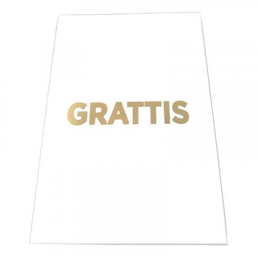 Kort Grattis Vit med Guldtext