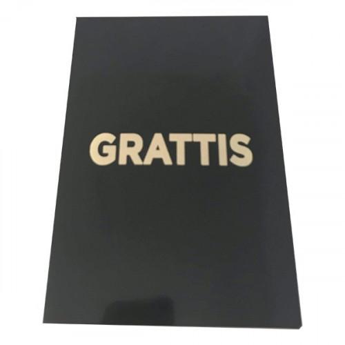 Kort Grattis Svart med Guldtext
