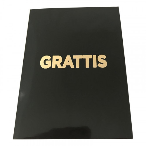 Kort Grattis liten Svart med Guldtext - 9.7x13.3cm