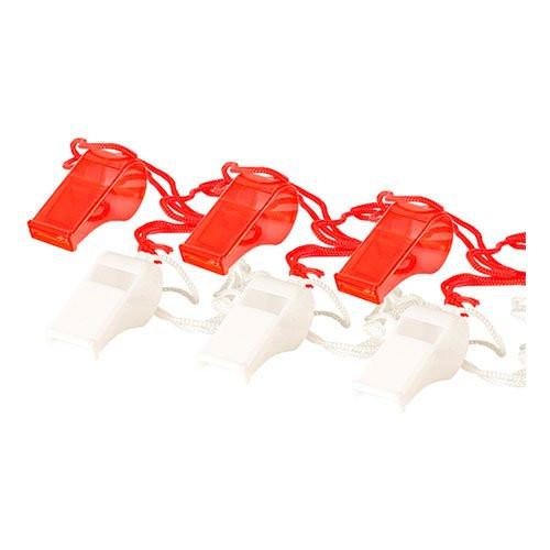 Visselpipor Röd/Vit - 6-pack