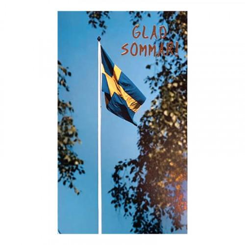 Dubbelkort Glad Sommar med Flaggstång