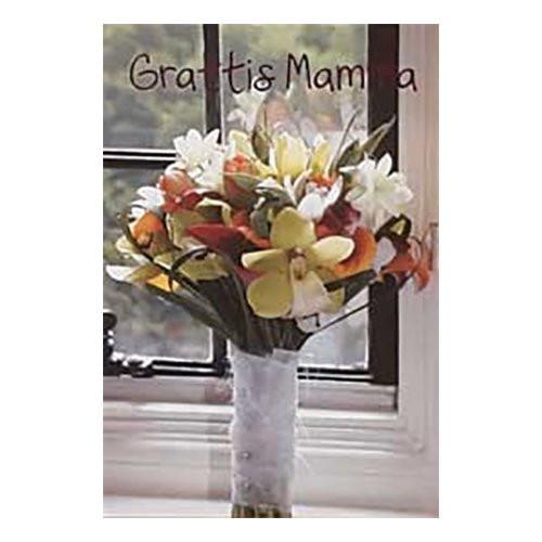 Dubbelkort Mini Grattis Mamma Blombukett