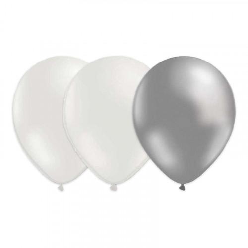 Ballongkombo Silver/Vit/Metallic Vit - 15-pack