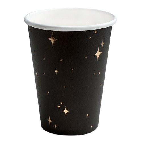 Pappersmuggar Svart Stjärnor Guld - 6-pack