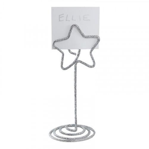 Placeringskortshållare Stjärna Silver Glitter - 6-pack