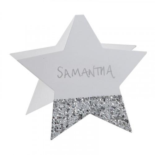 Placeringskort Stjärna Vit/Silver Glitter - 6-pack