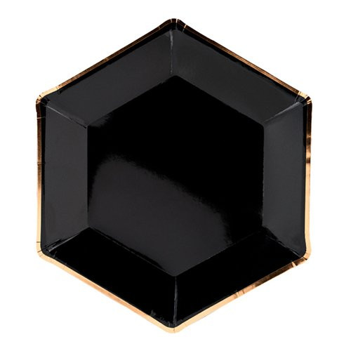 Papperstallrikar Svart Guldkant Hexagon Celebrate - 6-pack