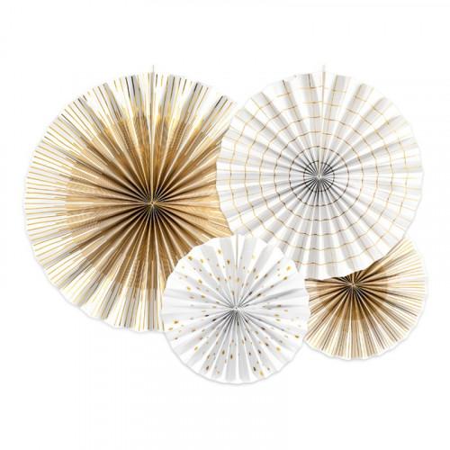 Pappersfjädrar Vit/Guld Metallic Mix Hängande Dekoration - 4-pack