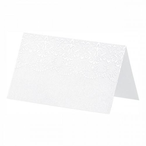 Placeringskort Ornament Pärlvit - 10-pack