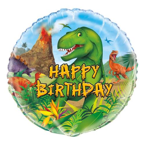 Folieballong Happy Birthday Dinosaurier
