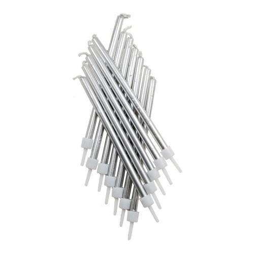 Tårtljus Långa Metallic Silver - 12-pack