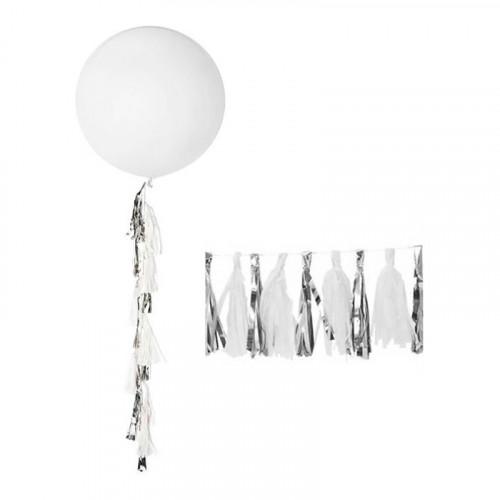 Ballongtassel Silver/Vit