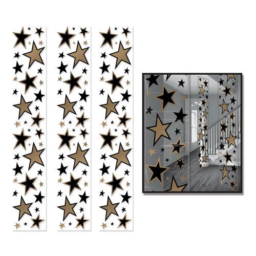 Paneler Stjärnor Hängande Dekoration Guld/Svart - 3-pack