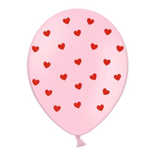 Latexballonger Rosa med Hjärtan - 30 cm